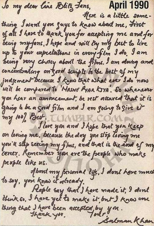 salman khan leaks his hand written love letter